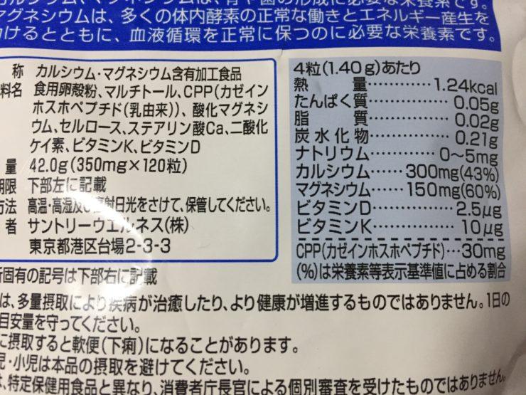 マグネシウムサプリの成分表